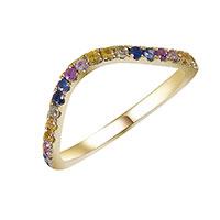 Кольцо из желтого золота с сапфирами, фото