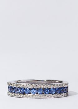 Кольцо из белого золота с бриллиантами и сапфирами, фото