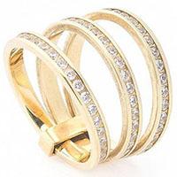 Кольцо из желтого золота с циркониями, фото