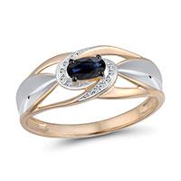 Кольцо из золота с бриллиантами и сапфиром, фото