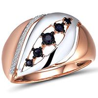 Кольцо из красного золота с бриллиантами и сапфирами, фото