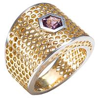 Кольцо из желтого золота с аметистом, фото
