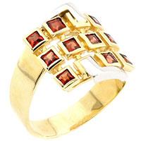 Кольцо из желтого золота с гранатами, фото