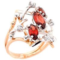 Кольцо из красного золота с гранатами и циркониями, фото