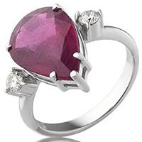 Кольцо из белого золота с бриллиантами и рубином (облагороженным), фото