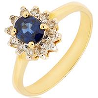 Кольцо из желтого золота с бриллиантами и сапфиром, фото