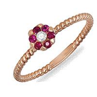 Кольцо из красного золота с бриллиантом и рубинами, фото