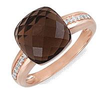 Кольцо из красного золота с бриллиантами и дымчатым кварцем, фото