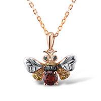 Кулон из красного золота с бриллиантами и гранатами, фото