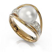 Кольцо из красного золота с бриллиантами и жемчугами, фото