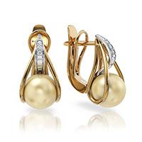 Серьги из красного золота с бриллиантами и жемчугами, фото