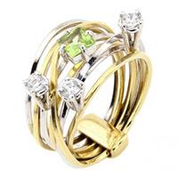 Кольцо из золота с циркониями и хризолитом, фото
