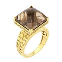 Кольцо из желтого золота с бриллиантами и дымчатым кварцем, фото