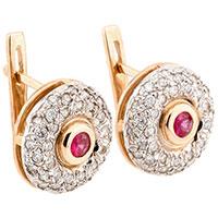 Серьги из красного золота с бриллиантами и рубинами, фото