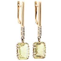 Серьги из красного золота с бриллиантами и топазами, фото