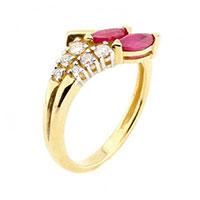 Кольцо из желтого золота с бриллиантами и рубинами, фото