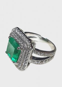 Перстень из белого золота с бриллиантами 1,03ct и изумрудом 5ct, фото