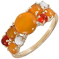 Кольцо из желтого золота с агатами, фото