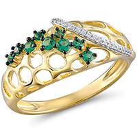 Кольцо из желтого золота с бриллиантами и гранатами, фото