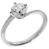Кольцо из белого золота с бриллиантом 1 карат, фото