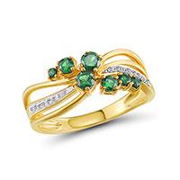 Кольцо из желтого золота с бриллиантами и изумрудами, фото