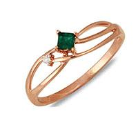 Кольцо из красного золота с бриллиантом и изумрудом, фото