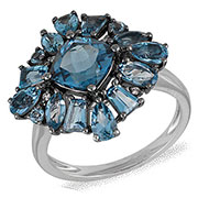 Кольцо из белого золота с бриллиантами и топазами, фото