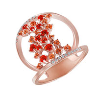 Кольцо из красного золота с бриллиантами и топазами, фото