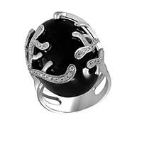 Кольцо из белого золота с бриллиантами и обсидианом, фото