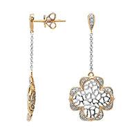 Серьги из желтого золота с бриллиантами и эмалью, фото