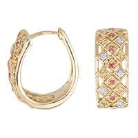Серьги из желтого золота с бриллиантами и сапфирами, фото