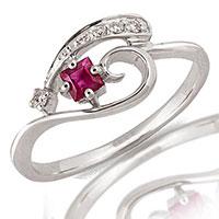 Кольцо из белого золота с бриллиантами и рубином, фото