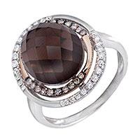Кольцо из белого золота с бриллиантами и дымчатым кварцем, фото