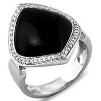 Кольцо из белого золота с агатами и бриллиантами, фото