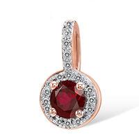 Кулон из красного золота с бриллиантами и рубином, фото