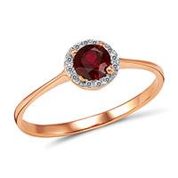 Кольцо из красного золота с бриллиантами и рубином, фото