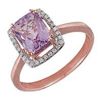 Кольцо из красного золота с аметистом и бриллиантами, фото