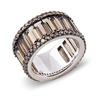 Кольцо из белого золота с бриллиантами и дымчатыми кварцами, фото