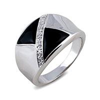 Кольцо из белого золота с бриллиантами и ониксом, фото