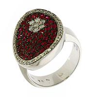 Кольцо из белого золота с бриллиантами и рубинами, фото