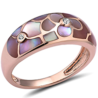 Кольцо из красного золота с бриллиантами и перламутром, фото