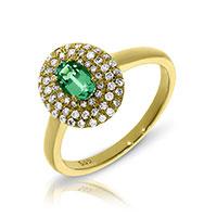 Кольцо из желтого золота с бриллиантами и изумрудом, фото