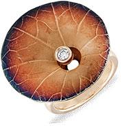 Кольцо из желтого золота с цирконием, фото