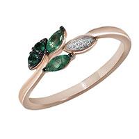 Кольцо из красного золота с бриллиантами и изумрудами, фото