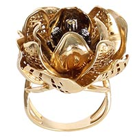 Золотой перстень Roberto Bravo с большим перфорированным цветком и бриллиантами, фото