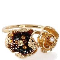 Золотое кольцо Roberto Bravo с двумя цветами разного размера и драгоценными камнями, фото