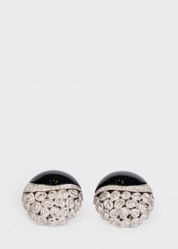 Серьги Annamaria Cammilli с черным ониксом и цветами, фото