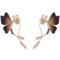 Длинные серьги-гвоздики Roberto Bravo Global Warming с бабочками и драгоценными камнями, фото