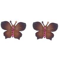 Серьги-гвоздики Roberto Bravo Global Warming с коричневыми бабочками и сапфирами, фото