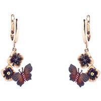Золотые серьги Roberto Bravo Global Warming с коричневыми бабочками и сапфирами, фото